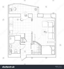 black white drawing sketch floor plan stock illustration 438046360 a sketch of the floor plan small apartment with furniture