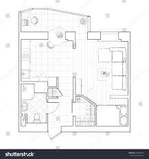 black white drawing sketch floor plan stock illustration 438046360