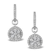 white gold drop earrings halo diamond drop earrings florence 1 50ct in 18k white gold