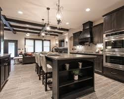 dark kitchen cabinets with light floors living room kitchen open concept with light wood floor dark