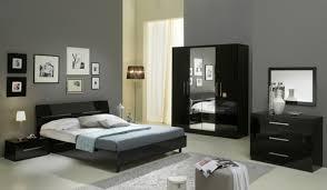 chambre a coucher noir et gris chambre complete gloria laquée noir