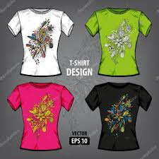 vector t shirt print design template set of 4 colored patterns