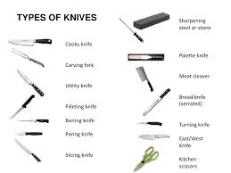 different types of kitchen knives knives names