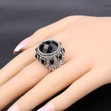 big rings images Kinel vintage jewelry 2016 new bohemia punk black big ring silver jpg