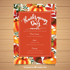 colorful thanksgiving menu template vector free