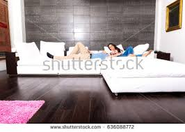 Young Couple Room Young Couple Using Tablet Pc Kitchen Stock Photo 285074957