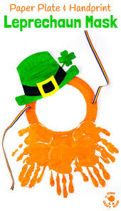 paper plate and handprint leprechaun mask paper plate crafts