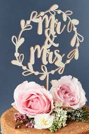 mr and mr cake topper mr and mrs floral wreath wooden wedding cake topper bycouturier