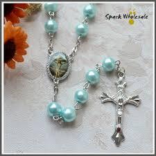cheap baptism favors 12pcs lot catholic boy s baptism favors blue glass pearl rosary