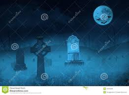 blue halloween background ghostly graveyard by full moon stock photos image 33322583
