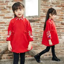 new year baby clothes 2018 style embroidered cheongsam dress 2017 autumn