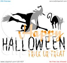 clipart of a happy halloween trick or treat design with a witch