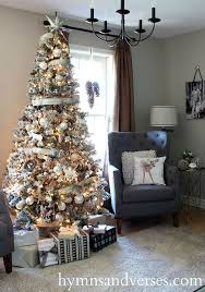 silver and white flocked tree hometalk