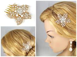 gold hair accessories gold and pearl hair comb