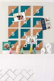 diy cork tile christmas card display julep