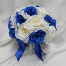 Royal Blue Boutonniere Best Blue And Ivory Wedding Bouquet Products On Wanelo