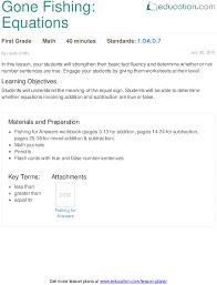 gone fishing equations lesson plan education com