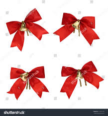christmas decorations red ribbons bells isolated stock photo