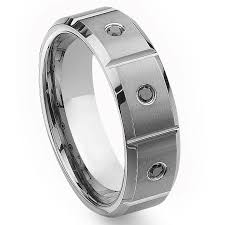 black diamond wedding band tungsten carbide black diamond wedding band ring w grooves 8mm