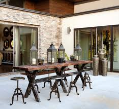 bronze outdoor pub table sets patio rustic with rustic backless