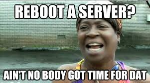 Server Memes - reboot a server ain t no body got time for dat aint no body got