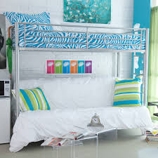 Find Bunk Beds Silver Iron Bunk Bed With Blue Zebra Pattern Sheet And White