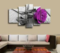 online get cheap purple canvas art aliexpress com alibaba group framed 5 piece picture purple flowers canvas art print oil painting wall pictures for living room paintings cuadros decorativos