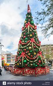 very large christmas holiday tree in the street at universal