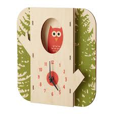tree owl clock wooden animal clock uncommongoods