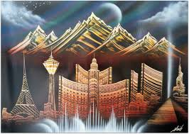 Spray Paint Artist - vegas with mountains visual art images