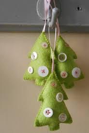 handmade felt tree shaped decorations by aliceemilyrose
