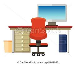 clipart bureau intérieur moderne bureau plat bureau fonctionnant clipart