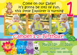 2nd Birthday Invitation Card Jungle 1st Birthday Invitations Vertabox Com