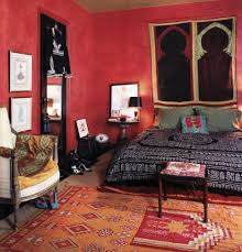 Red And White Bedroom Furniture by Bedroom Inspiring Bohemian Bedroom Idea With Red Wall And Rug Also