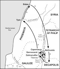 Gennesaret Map The Bible Journey Jesus Journeys Among The Gentiles