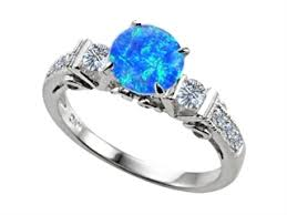 blue opal engagement rings k engagement ring 6 diamonds and created blue opal
