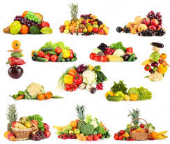collage of fruits and vegetables isolated on white u2014 stock photo