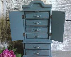 Jewelry Armoire Vintage Gray Jewelry Box Etsy