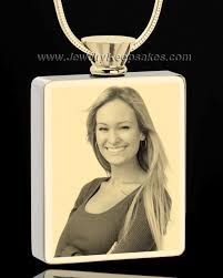 jewelry to hold ashes gold plated rectangle photo engraved cremation necklace to hold ashes