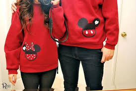 matching couples disney sweaters on the hunt