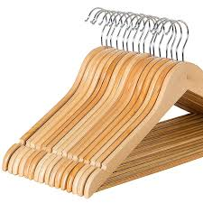 zober solid wood suit hangers with non slip bar and