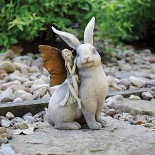 and rabbit garden statue enchanted lawn figurine herb