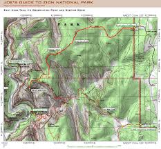 map of zion national park joe s guide to zion national park east mesa trail topo map