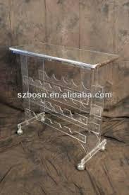 metallic countertop wine bottle and glass display holder wooden