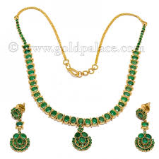 emerald gold necklace images Emerald and gold necklace set 22k gold palace jewelers inc jpg