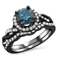 black and blue wedding rings jewels blue diamond ring twisted ring set bridal ring set