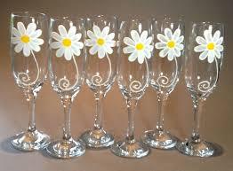 Wine Wedding Gift 50th Birthday Gift Set Of 6 Daisy Design Champagne Flutes
