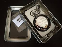 engraved pocket fob watch in gift tin christmas present grandad dad
