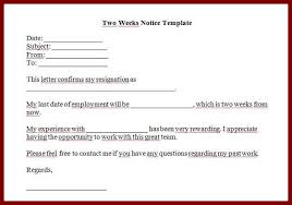 5 two weeks notice letters u0026 resignation letter templates
