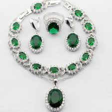 emerald necklace sets images Charms oval 925 sterling silver women jewelry sets green imitated jpg